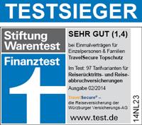 Testsieger TravelSecure Reiserücktrittsversicherung